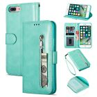 For iPhone XR Case XS Max 8 7 6 Zipper Magnetic Wallet Stand Card Holder Cover