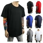 Men's Long T-Shirt Extended Casual Tee Elongated Basic Crew Neck Hipster S-5XL image