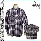 STUSSY Long Sleeve Heritage Plaid Button up Flannel Red White Navy Shirt MEDIUM