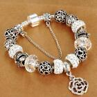 Women Charm Bracelet With Flower Rose Pandora Bracelets