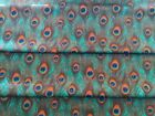 Peacock Feathers Fabric 100% Cotton Poplin Material  Jade with Blue Eye