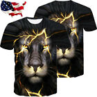 Men Casual Shirts 3D Print Lightning Lion Graphic Designer T-shirt Animal Tops image