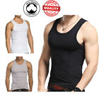 3 Pc Men 100 Cotton A-Shirt Tank Top Ribbed Undershirt Wife Beater Black Muscle