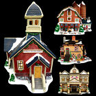 LEMAX PROCELAIN LIGHTED CHRISTMAS VILLAGE HOUSES / SCHOOL / COURTHOUSE / BARN