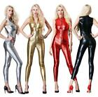 Sexy 4Color Women Lycra Zentai Wet look Bodysuit Zipper Catsuit Jumpsuit Costume