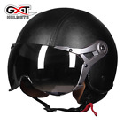 GXT Motocross Helmet Leather Vintage Retro Motorcycle Half Helmet Cycling Goggle