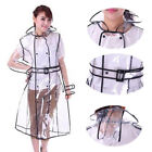 Portable New Women Girls Transparent Vinyl Raincoat Runway EVA Clear Rain Coat