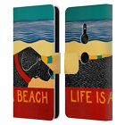STEPHEN HUNECK DOGS AT THE BEACH LEATHER BOOK WALLET CASE FOR SONY PHONES 1