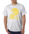 Gildan Short Sleeve T-shirt Sports Hockey Player Shadow Digital Yellow