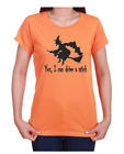 Halloween T-shirt Witch Broom Yes I Can Drive A Stick Gildan Orange Gray