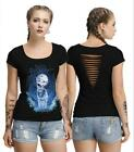 Woman Short Sleeve T-shirt The Wolf Printed O Neck Back Hollow out T-shirt S-XL