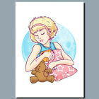 Sleeping Beauty WHITE Girl Teddy bear Metal Poster or Canvas Or Poster Wall Art