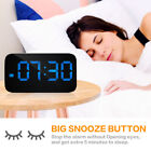Large Digital LED Display Alarm Clock Snooze Voice Control USB/Battery Powered