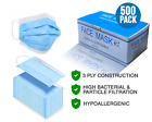 250-1000 PCS Disposable Face Mask Surgical Medical Dental Industrial 3-Ply