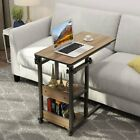 Tribesigns Height Adjustable Snack Bed Table Side End Table with Rolling Wheels