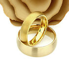Gold Tone Tungsten Wedding Band Set, 8mm, 6mm, Brushed Ring Set For Couple
