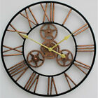 Large Metal Skeleton Wall Clock Antique Decor Round Iron Big Hanging Clocks 70cm