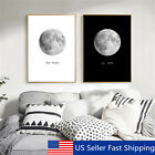 Abstract Canvas Painting Print Black&White Moon Home Room Wall Picture Art