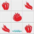 Kitchen Tomato Chilli Pepper Vegetable Tile Stickers Vinyl Wall Decal 3 Designs