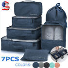7Pcs Waterproof Travel Clothes Storage Luggage Organizer Pouch Packing Cube Bags