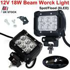"2x 4"" Inch 6 Led 18w Spot / Flood Beam Work Light Off Road Car Truck Boat 12v Uk"