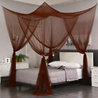 Coffee 4 Corner Post Mosquito Net Curtain Bed Canopy Outdoor Indoor Fit All Size image