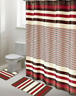 15PCS PRINTED BATHROOM SET BATH MATS SHOWER CURTAIN HOOKS ASSORTED DESIGN