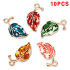 10pcs Enamel Alloy Leaf Leaves Charms Metal Pendants Diy Craft Jewelry Findings