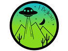 I Believe Ufo Alien Printed Sticker Decal Area 51 Nevada Desert Raid Saucer