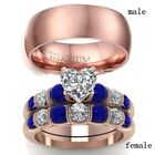Couple Rings Rose Gold Filled Titanium Steel Mens Ring CZ Womens Wedding Rings image