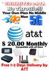 AT&T UNLIMITED 4G LTE DATA ACCOUNT ATT $20 / Monthly Your Plan!!