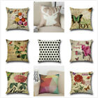 "Home Decor 18"" Cotton Linen Square Throw Pillow Case Sofa Waist Cushion Cover D6"
