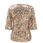 UK Women's Half Sleeve Sequin Sparkly Glitter Tops Party Clubwear Blouse T-shirt