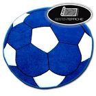 "Modern and Cheap Rugs for Kids Circle "" Happy "" Blue Football"