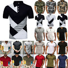Mens T-Shirts Solid Polo Shirts Pocket Casual Business Formal Golf Tops Blouse