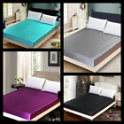 1PC ELEGANT SATIN SILKY SOLID SOFT BED DRESSING COVER FITTED SHEET IN ALL SIZES image