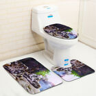 Lake Wolf Waterproof Bathroom Shower Curtain Toilet Cover Mat Non-Slip Rug