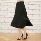 Woman'sBlack Ruffle side Slit Fit and Flare draped A-line maxi  Long Skirt