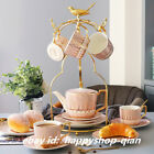 Porcelain 17pcs Tea Coffee Set Coffeepot Coffee Mug Cups Ladle Metal Bird Holder
