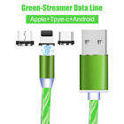 For Type C Android Apple Charge USB Data Luminous Streamer Phone Cable Lead