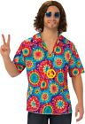Mens Rainbow Hippie Hippy 1960s 1970s + Necklace Fancy Dress Costume Outfit M-XL