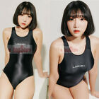 LEOHEX Sexy Schwarz Damens Bademode Satin Glossy Body Suit High Cut Einteiler