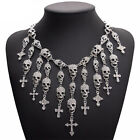 Skull Skeleton Cross Pirate Goth Vampire Halloween Crystal Statement Necklace