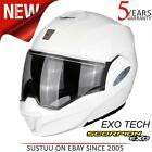 Scorpion EXO-TECH Solid Motorcycle/ Bike FlipFront Helmets│Gloss White│All Sizes