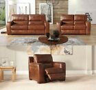 Sisi Italia Corner Sofa Collection Set Recliner Lucca Real Leather Tan