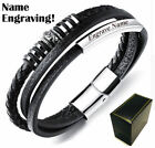 Men's Personalized Black Leather Bangle Bracelet With Name Engraving #1010 image