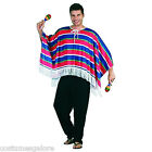 SW Mens Costume Fancy Dress Mexican Poncho Cowboy Wild West Red Blue One Size