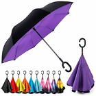 Inverted C-Handle Double Layer Umbrella Windproof Folding Upside Down Revers 2PC