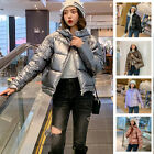 Fashion Lady Hooded Coat Jacket Parka Puffer Padded Wet Look Outerwear M-2XL