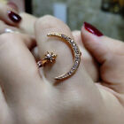 Women Crescent Moon and Tiny Star Adjustable Ring Jewelry Silver Gold Plated TRA